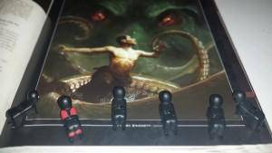 Illustration du monstre : « Et tu prends ton élan pour nous faire un saut carpé » Ninjas et Boss, admiratifs : « Woaaaaaaaa »