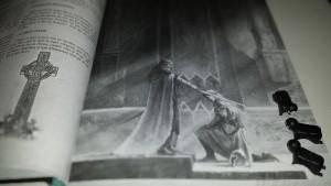 Illustration du Roi : « Le poids de cette épée n'est rien par rapport aux responsabilités qui t'attendent, YOLO »